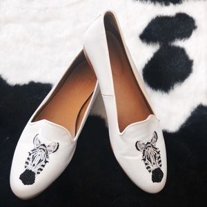 Topshop white leather zebra loafers